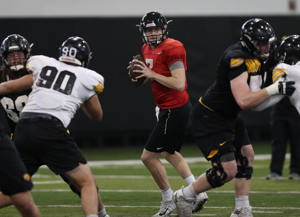 Iowa Hawkeyes quarterback Spencer Petras (7) during practice Wednesday, December 12, 2018 at the Hansen Football Performance Center in preparation for the Outback Bowl game against Mississippi State. (Brian Ray/hawkeyesports.com)