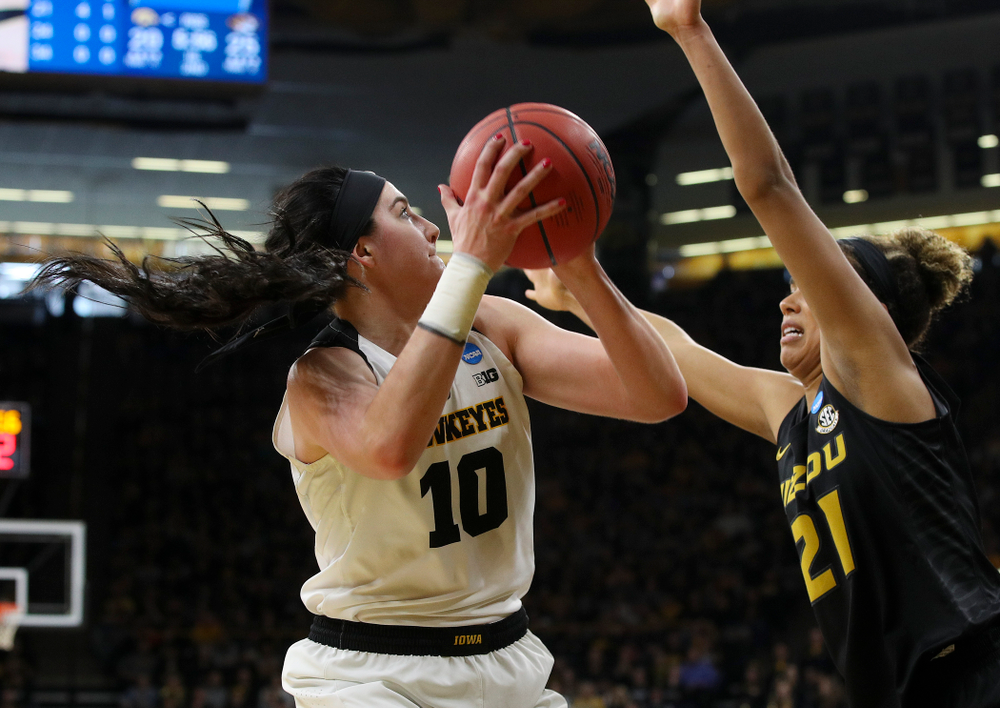 Iowa Hawkeyes center Megan Gustafson (10) scores a basket during the second quarter of their second round game in the 2019 NCAA Women's Basketball Tournament at Carver Hawkeye Arena in Iowa City on Sunday, Mar. 24, 2019. (Stephen Mally for hawkeyesports.com)