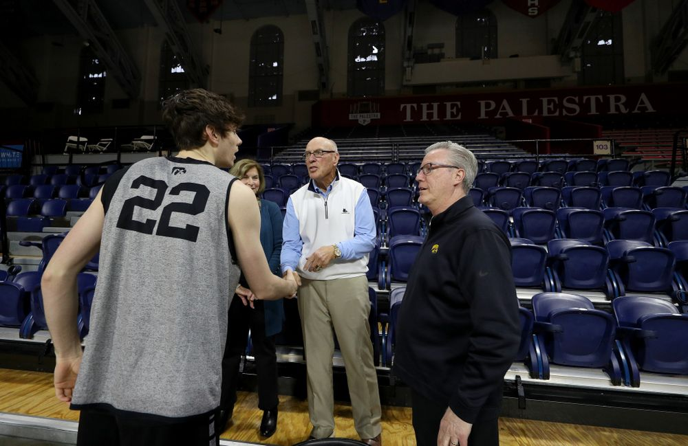 Iowa Hawkeyes head coach Fran McCaffery introduces his son Patrick McCaffery to Bob Weinhauer, his head coach from Penn, before practice at the Palestra Friday, January 3, 2020 in Philadelphia. (Brian Ray/hawkeyesports.com)