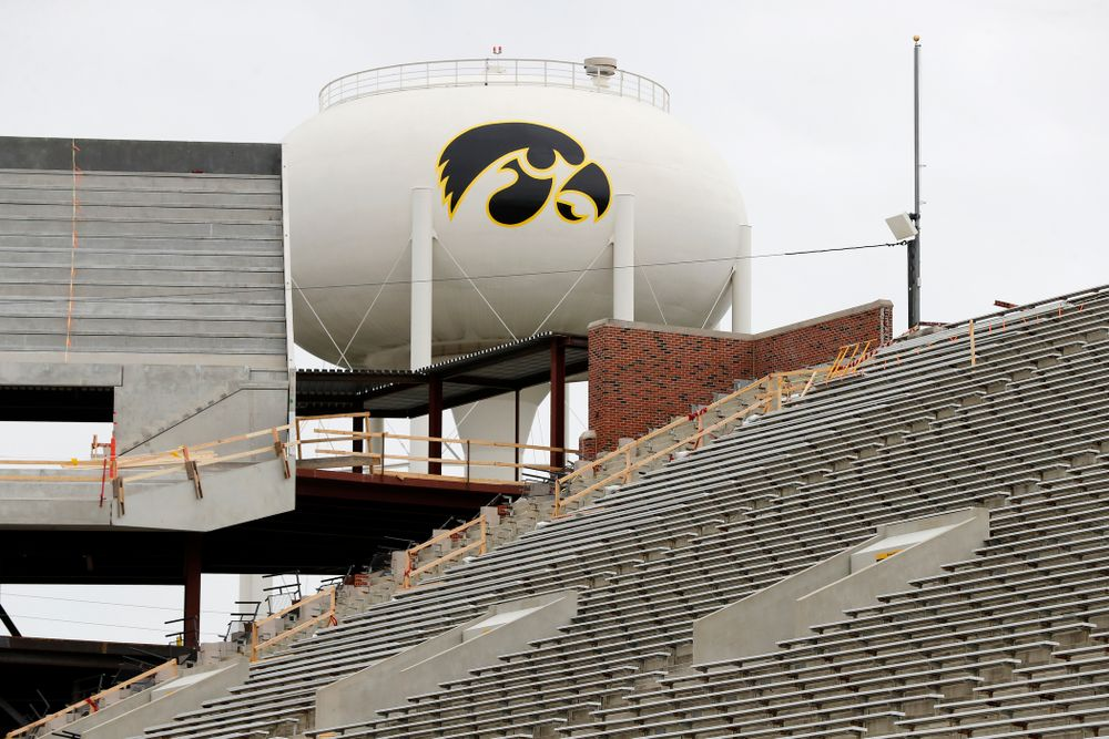 The view of the north end zone and water tower tiger hawk from the east hash mark of the south 10 yard-line Wednesday, June 6, 2018 at Kinnick Stadium. (Brian Ray/hawkeyesports.com)