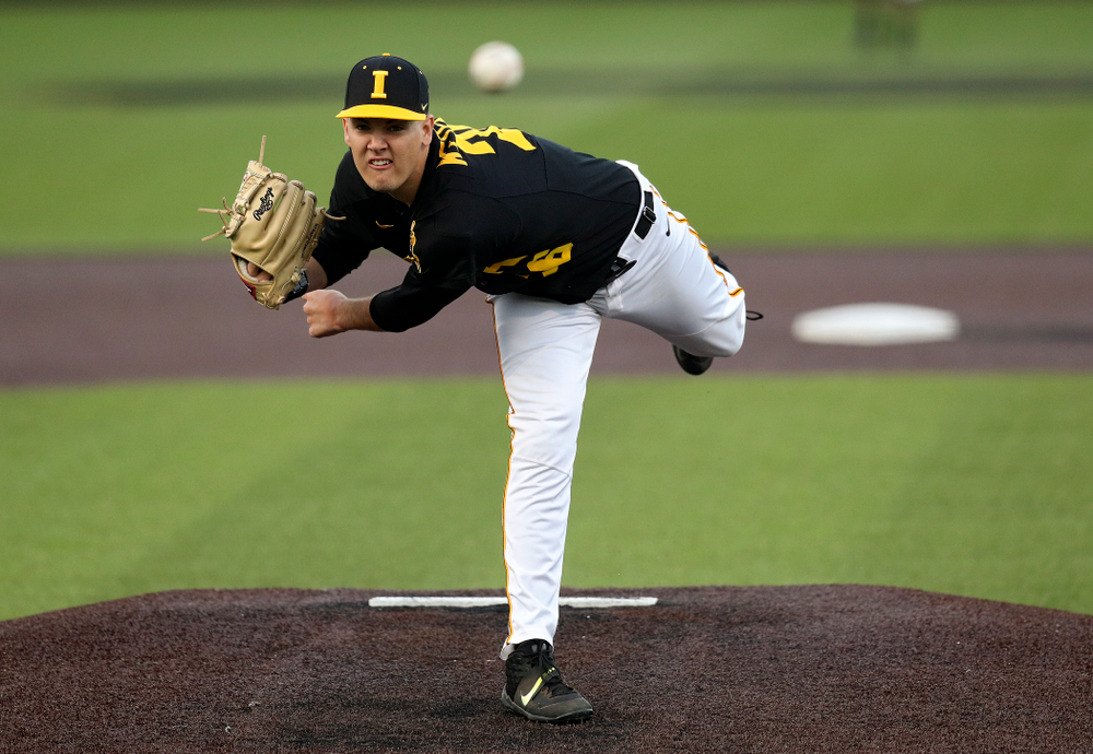 Iowa pitcher Adam Ketelsen (26) delivers to the plate during the eighth inning of their college baseball game at Duane Banks Field in Iowa City on Tuesday, March 10, 2020. (Stephen Mally/hawkeyesports.com)