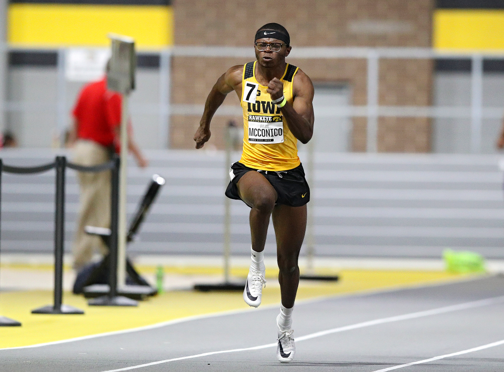 Iowa's Jaylan McConico runs in the men's 60 meter dash prelim event during the Hawkeye Invitational at the Recreation Building in Iowa City on Saturday, January 11, 2020. (Stephen Mally/hawkeyesports.com)