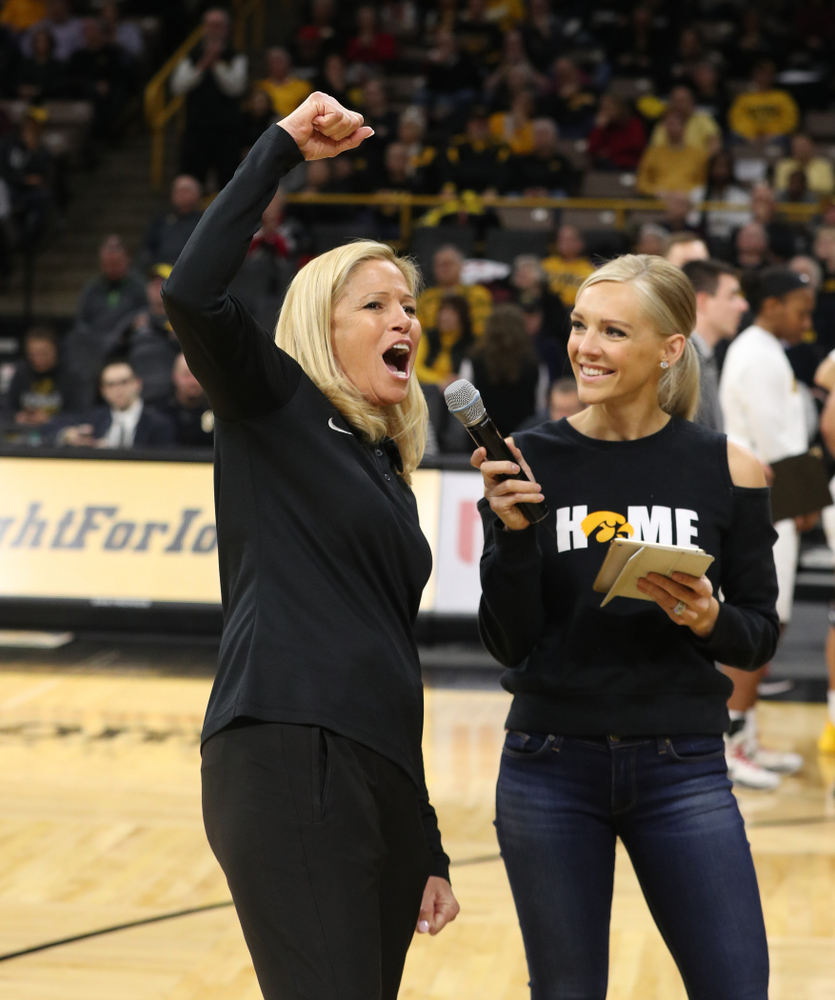 Iowa Softball Coach Renee Gillispie is interviewed during the Iowa Hawkeyes game against the Purdue Boilermakers Sunday, January 27, 2019 at Carver-Hawkeye Arena. (Brian Ray/hawkeyesports.com)