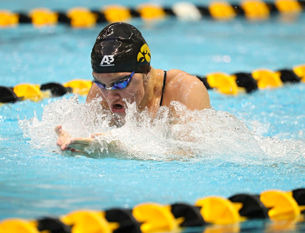 Iowa's Sage Ohlensehlen swims the breaststroke section of the women's 200-yard medley relay event during their meet against Michigan State and Northern Iowa at the Campus Recreation and Wellness Center in Iowa City on Friday, Oct 4, 2019. (Stephen Mally/hawkeyesports.com)