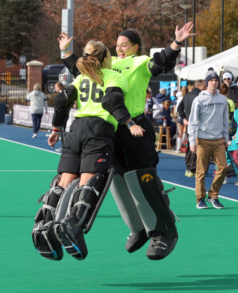 Iowa Hawkeyes goaltender Leslie Speight (96) and goaltender Grace McGuire (62) against Penn State in the 2019 Big Ten Field Hockey Tournament Championship Game Sunday, November 10, 2019 in State College. (Brian Ray/hawkeyesports.com)