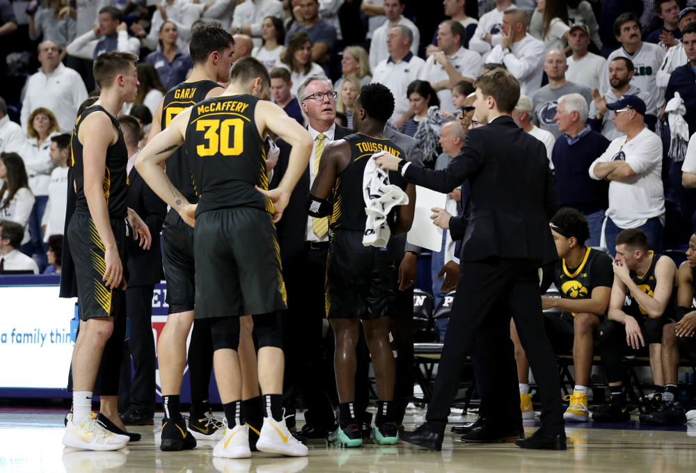 Iowa Hawkeyes head coach Fran McCaffery against Penn State Saturday, January 4, 2020 at the Palestra in Philadelphia. (Brian Ray/hawkeyesports.com)