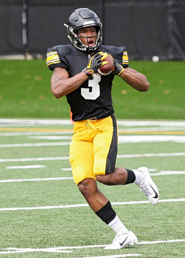 Iowa Hawkeyes wide receiver Tyrone Tracy Jr. (3) pulls in a pass during Fall Camp Practice No. 10 at the Hansen Football Performance Center in Iowa City on Tuesday, Aug 13, 2019. (Stephen Mally/hawkeyesports.com)
