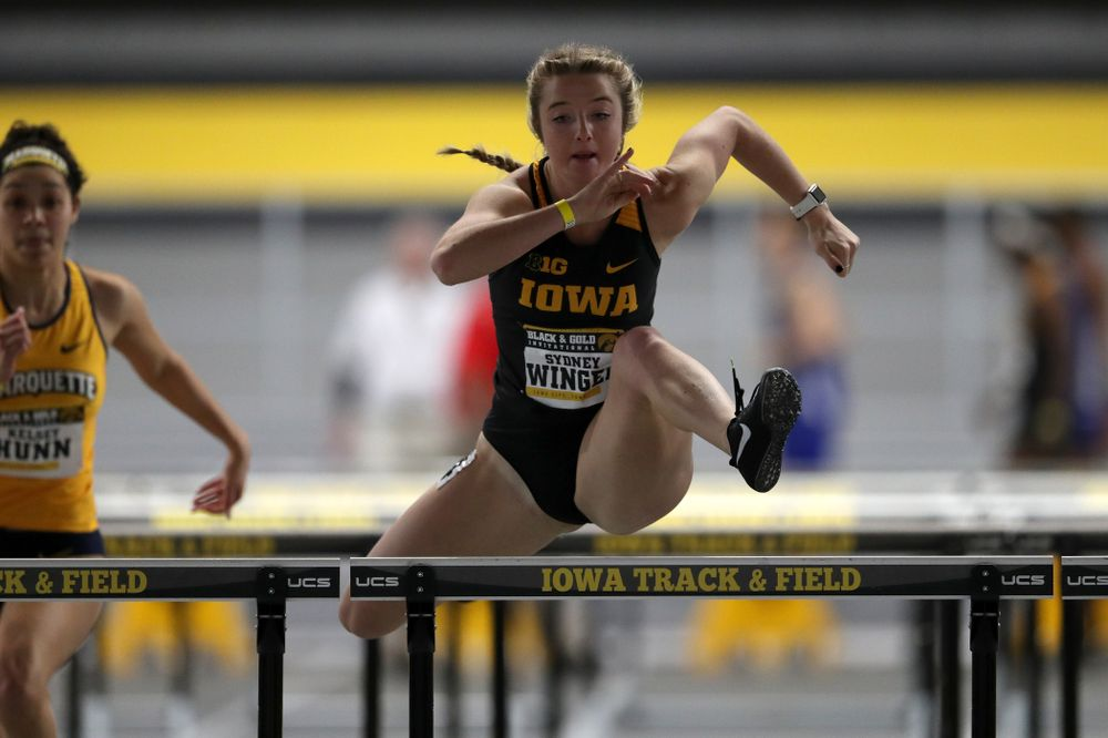 Iowa's Sydney Winger competes in the 60-meter hurdles during the Black and Gold Premier meet Saturday, January 26, 2019 at the Recreation Building. (Brian Ray/hawkeyesports.com)
