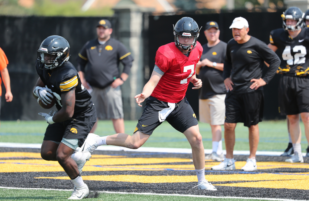 Iowa Hawkeyes quarterback Spencer Petras (7) during the third practice of fall camp Sunday, August 5, 2018 at the Kenyon Football Practice Facility. (Brian Ray/hawkeyesports.com)