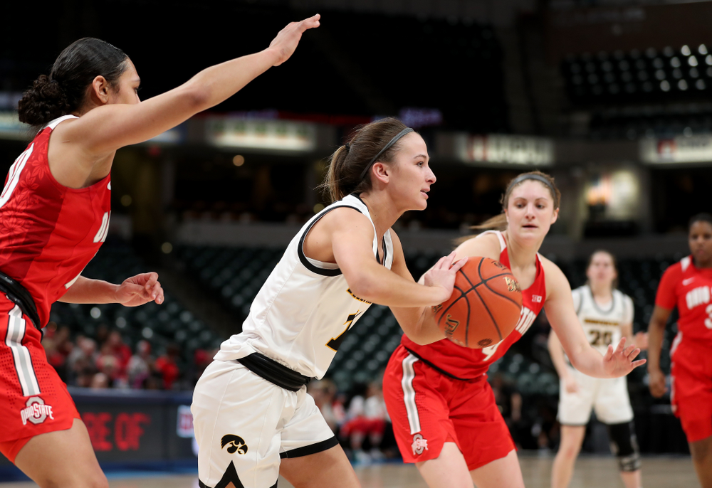 Iowa Hawkeyes guard Megan Meyer (11) against Ohio State in the quarterfinals of the Big Ten Basketball Tournament Friday, March 6, 2020 at Bankers Life Fieldhouse in Indianapolis. (Brian Ray/hawkeyesports.com)
