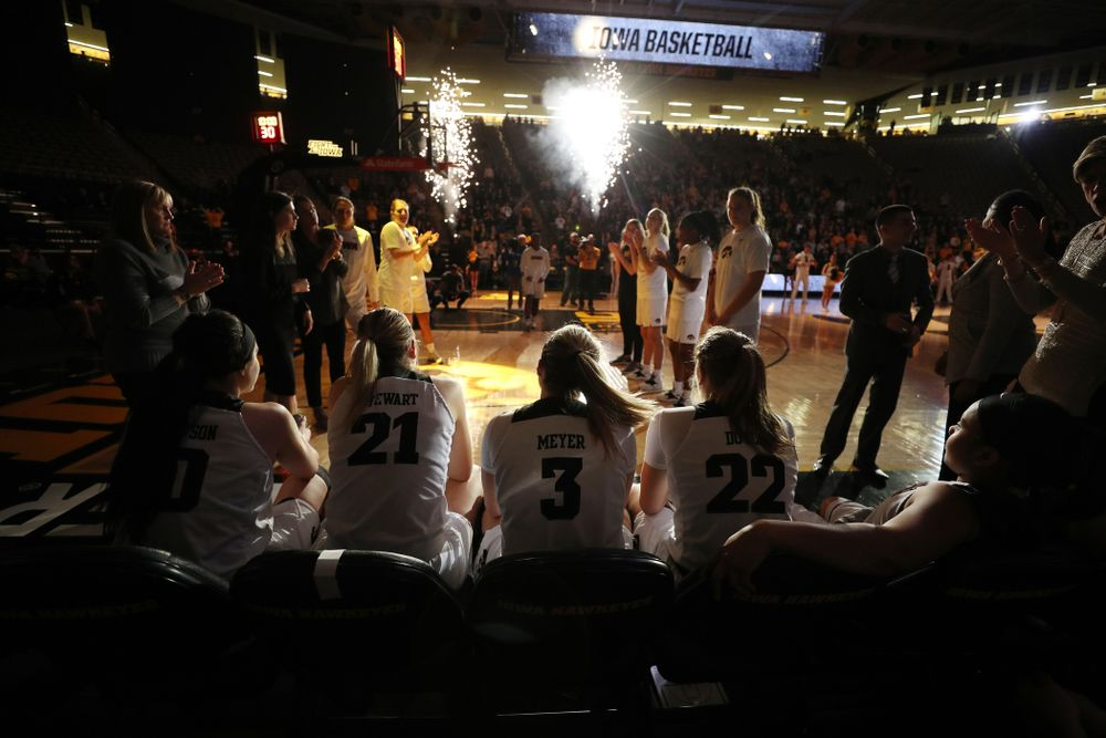 Iowa Hawkeyes forward Megan Gustafson (10), forward Hannah Stewart (21), guard Makenzie Meyer (3), guard Kathleen Doyle (22), and guard Tania Davis (11) before their game against the Wisconsin Badgers Monday, January 7, 2019 at Carver-Hawkeye Arena.  (Brian Ray/hawkeyesports.com)