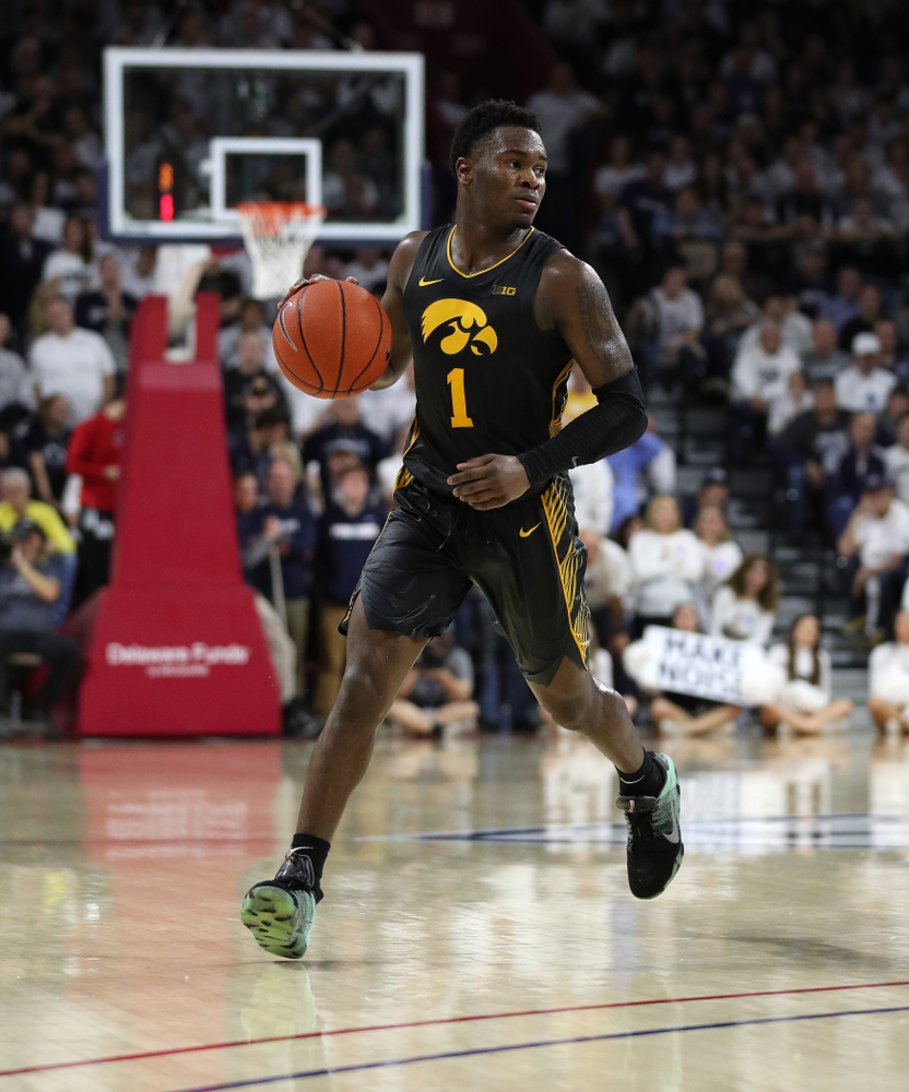 Iowa Hawkeyes guard Joe Toussaint (1) against Penn State Saturday, January 4, 2020 at the Palestra in Philadelphia. (Brian Ray/hawkeyesports.com)