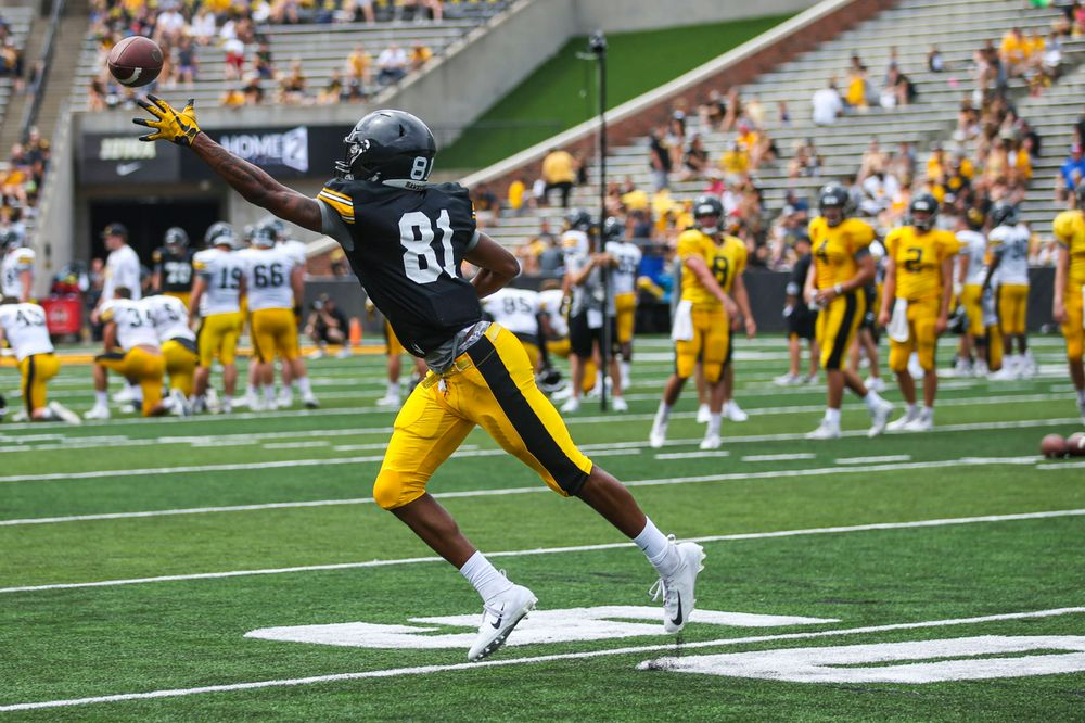 Iowa Hawkeyes wide receiver Desmond Hutson (81)during Kids Day at Kinnick Stadium on Saturday, August 10, 2019. (Lily Smith/hawkeyesports.com)