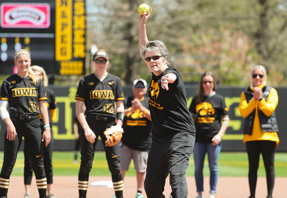 Former Iowa head coach Gayle Blevins throws out the first pitch before the game against Ohio State at Pearl Field in Iowa City on Saturday, May. 4, 2019. (Stephen Mally/hawkeyesports.com)
