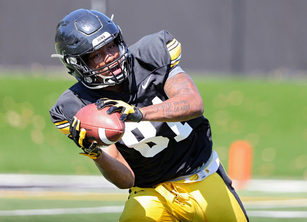 Iowa Hawkeyes wide receiver Desmond Hutson (81) pulls in a pass during Fall Camp Practice #5 at the Hansen Football Performance Center in Iowa City on Tuesday, Aug 6, 2019. (Stephen Mally/hawkeyesports.com)