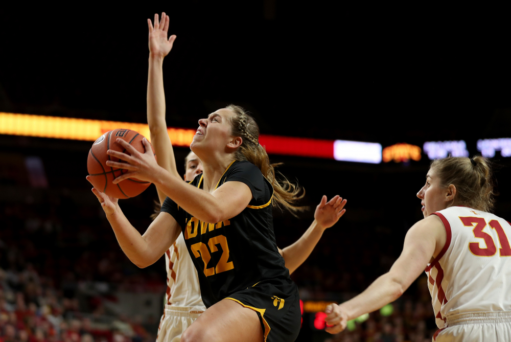 Iowa Hawkeyes guard Kathleen Doyle (22) against the Iowa State Cyclones Wednesday, December 11, 2019 at Hilton Coliseum in Ames, Iowa(Brian Ray/hawkeyesports.com)