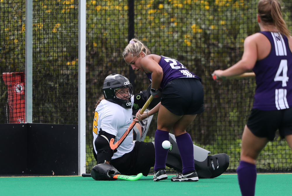 Iowa Hawkeyes goaltender Grace McGuire (62) during an exhibition game against Northwestern Saturday, August 24, 2019 at Grant Field. (Brian Ray/hawkeyesports.com)