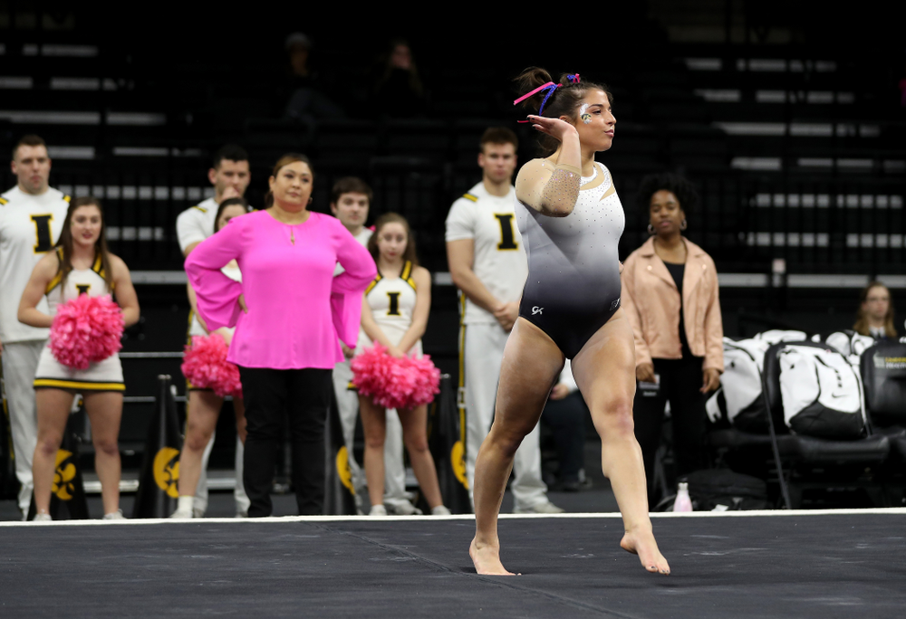 IowaÕs Ariana Agrapides competes on the floor against Ball State and Air Force Saturday, January 11, 2020 at Carver-Hawkeye Arena. (Brian Ray/hawkeyesports.com)