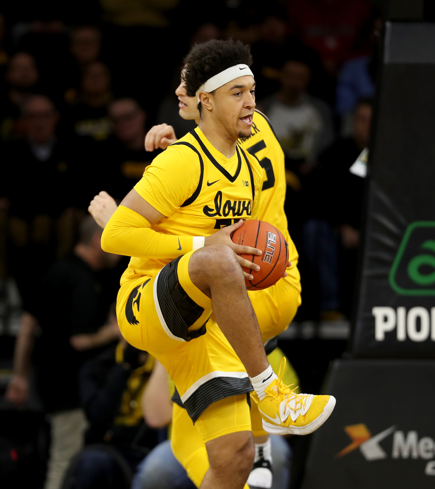 Iowa Hawkeyes forward Cordell Pemsl (35) against the Nebraska Cornhuskers Saturday, February 8, 2020 at Carver-Hawkeye Arena. (Brian Ray/hawkeyesports.com)