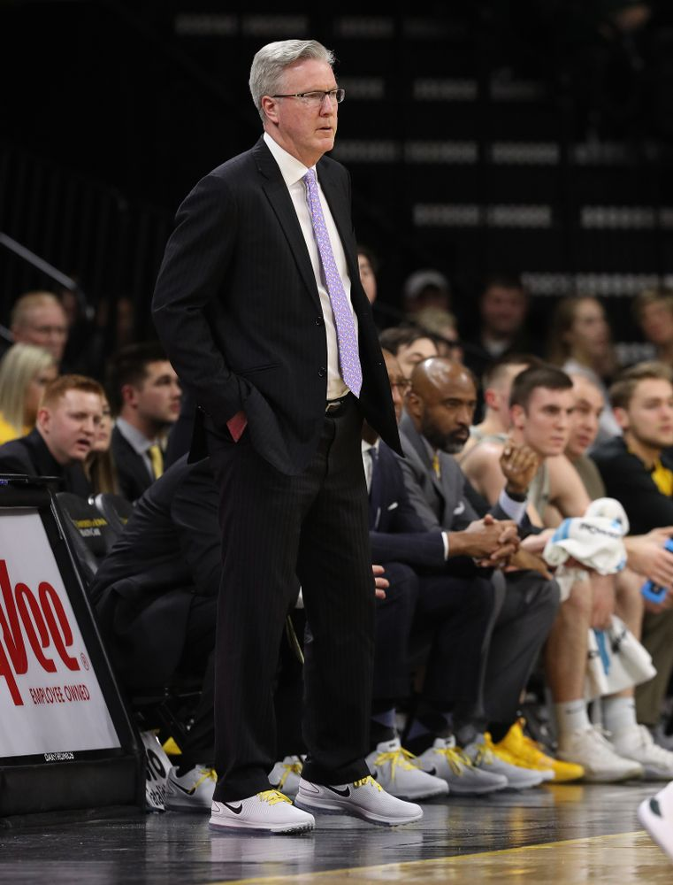 Iowa Hawkeyes head coach Fran McCaffery wears sneakers with his suit in support of cancer research against the Michigan State Spartans Thursday, January 24, 2019 at Carver-Hawkeye Arena. (Brian Ray/hawkeyesports.com)