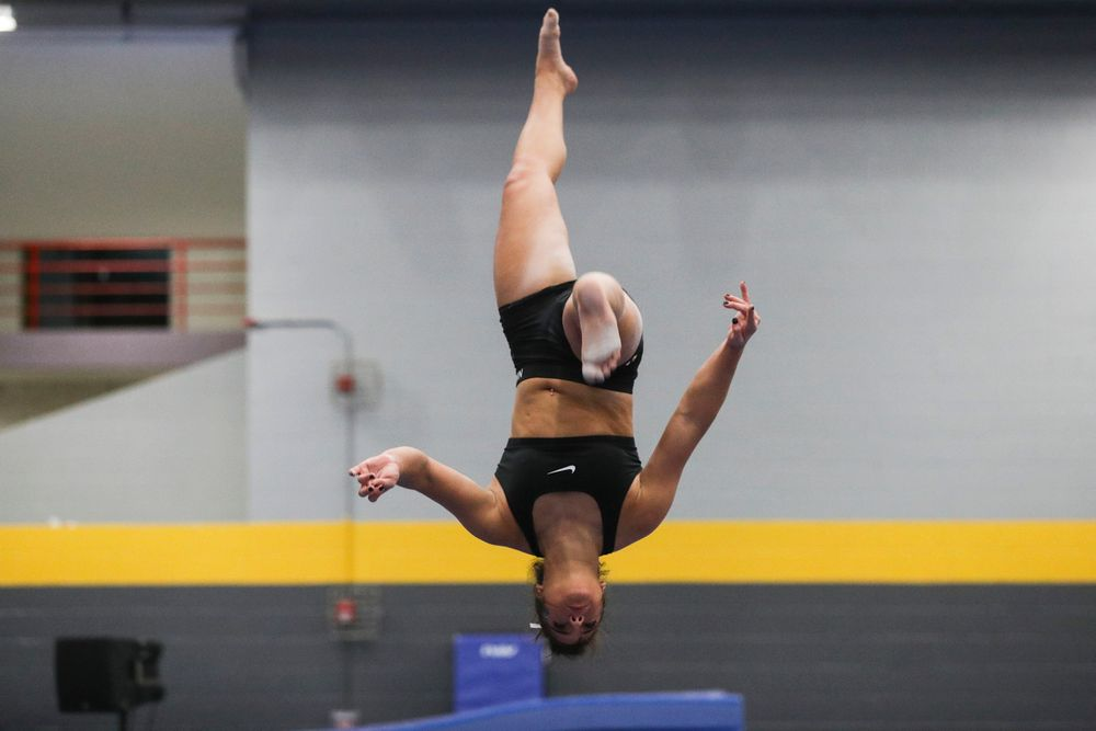 Carina Tolan practices on the beam during the Iowa women's gymnastics Black and Gold Intraquad Meet on Saturday, December 7, 2019 at the UI Field House. (Lily Smith/hawkeyesports.com)
