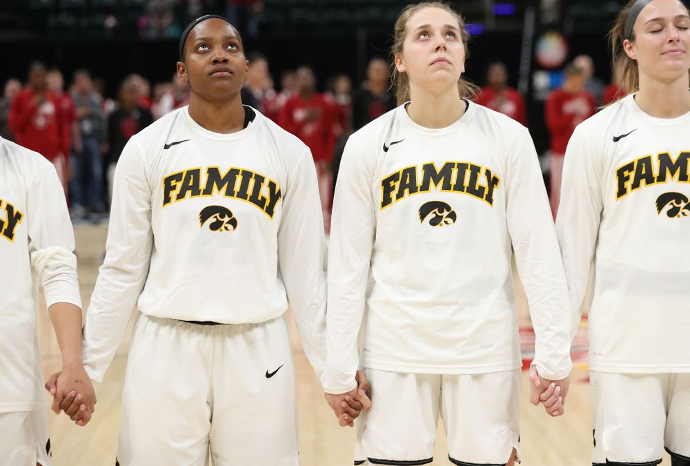 Iowa Hawkeyes guard Zion Sanders (24) and guard Kathleen Doyle (22) against the Indiana Hoosiers in the quarterfinals of the Big Ten Tournament Friday, March 8, 2019 at Bankers Life Fieldhouse in Indianapolis, Ind. (Brian Ray/hawkeyesports.com)