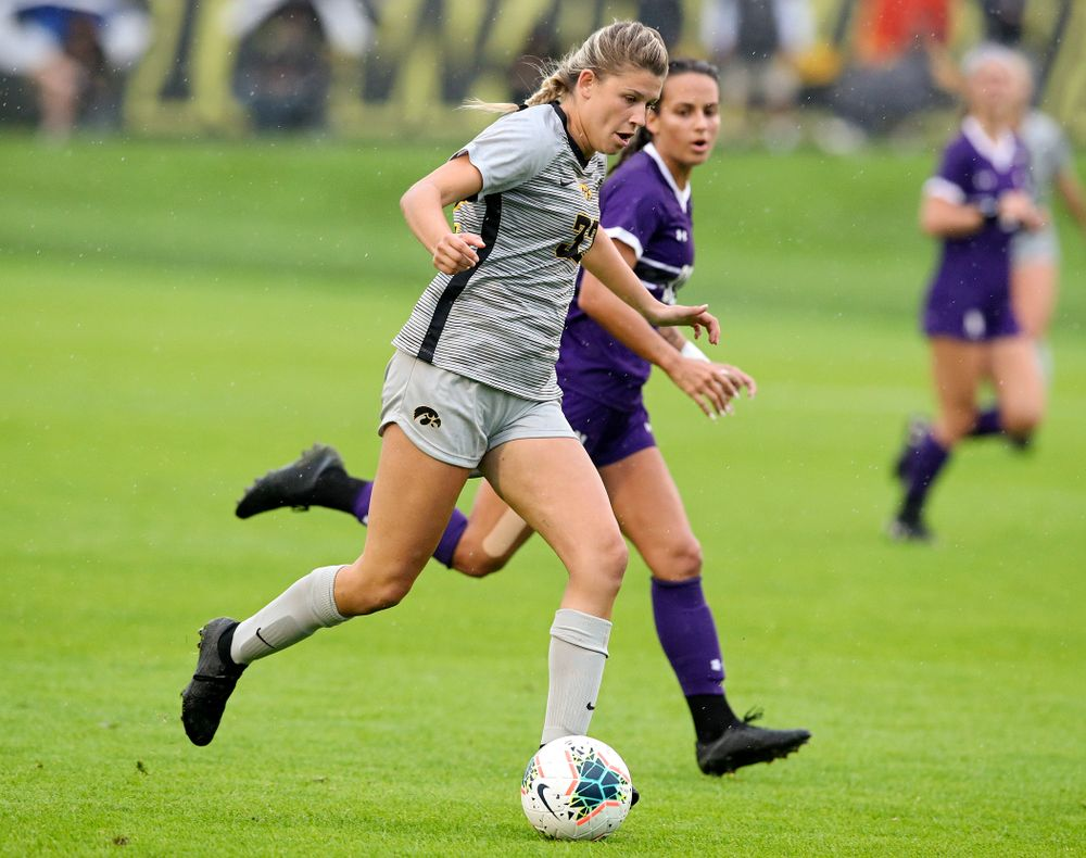 Iowa forward Gianna Gourley (32) moves with the ball during the first half of their match at the Iowa Soccer Complex in Iowa City on Sunday, Sep 29, 2019. (Stephen Mally/hawkeyesports.com)