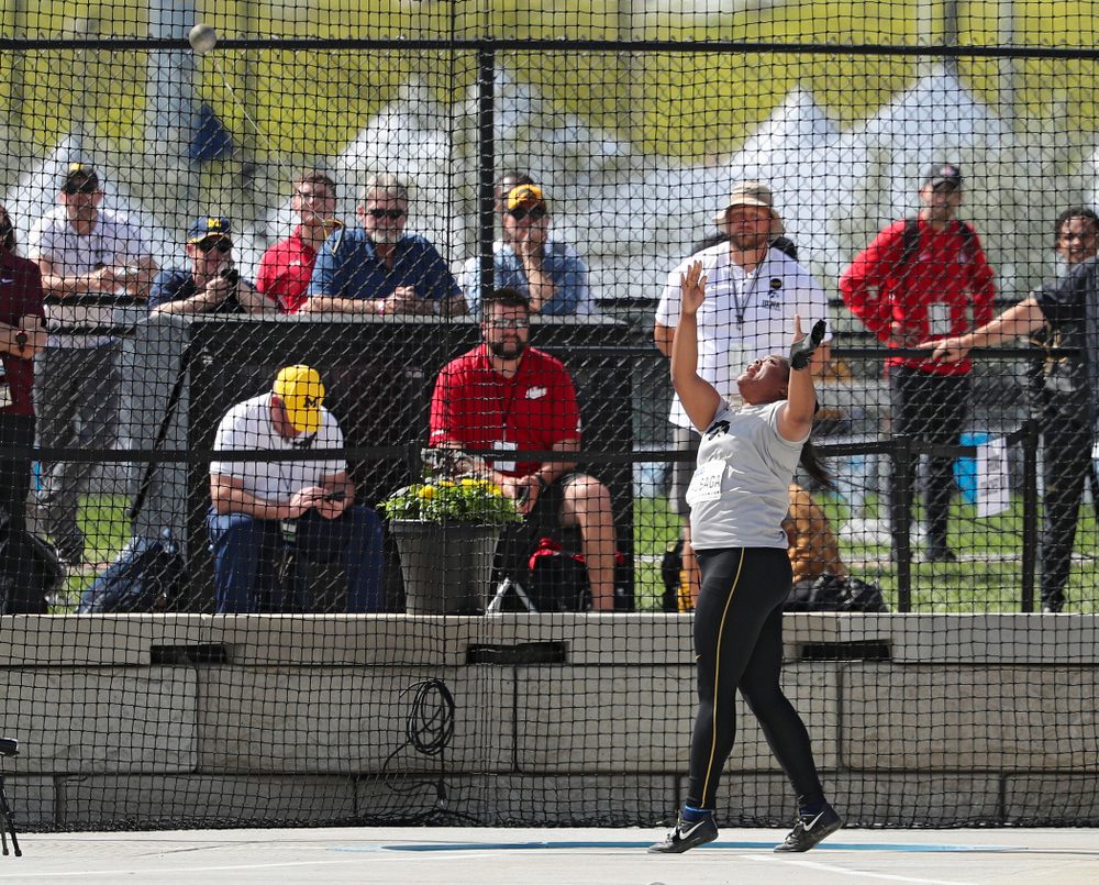 Iowa's Laulauga Tausaga throws during the women's hammer throw event on the first day of the Big Ten Outdoor Track and Field Championships at Francis X. Cretzmeyer Track in Iowa City on Friday, May. 10, 2019. (Stephen Mally/hawkeyesports.com)