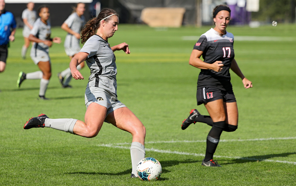 Iowa forward Kaleigh Haus (4) lines up a shot during the second half of their match at the Iowa Soccer Complex in Iowa City on Sunday, Sep 1, 2019. (Stephen Mally/hawkeyesports.com)