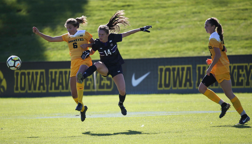 Iowa Hawkeyes midfielder Isabella Blackman (6) heads the ball during a game against Northwestern at the Iowa Soccer Complex on October 21, 2018. (Tork Mason/hawkeyesports.com)