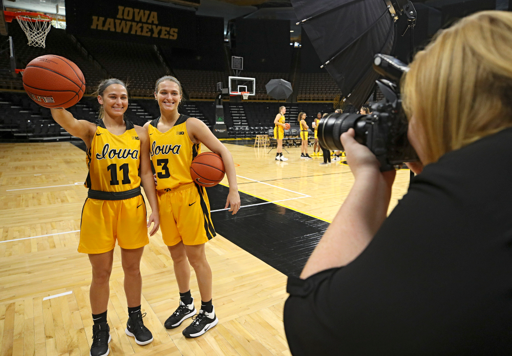 Iowa  guard Megan Meyer (11) and guard Makenzie Meyer (3) pose for a picture during Iowa Women's Basketball Media Day at Carver-Hawkeye Arena in Iowa City on Thursday, Oct 24, 2019. (Stephen Mally/hawkeyesports.com)