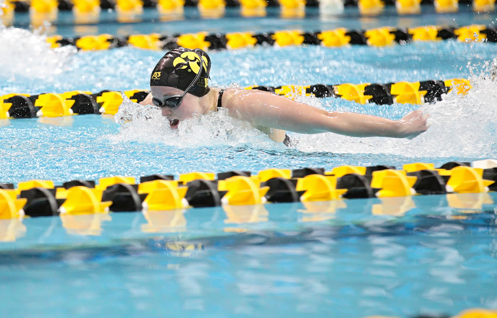 Iowa's Kelsey Drake swims a 200 yard butterfly time trial during the 2020 Big Ten Women's Swimming and Diving Championships at the Campus Recreation and Wellness Center in Iowa City on Wednesday, February 19, 2020. (Stephen Mally/hawkeyesports.com)