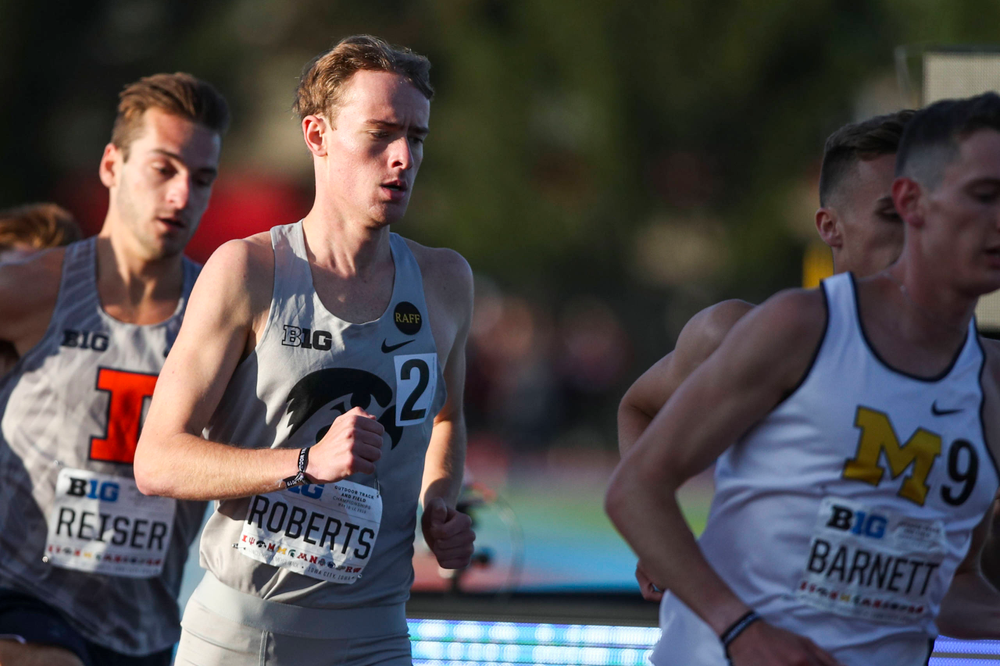 Iowa's Jeff Roberts runs during the men's 1500-meter run  at the Big Ten Outdoor Track and Field Championships at Francis X. Cretzmeyer Track on Friday, May 10, 2019. (Lily Smith/hawkeyesports.com)