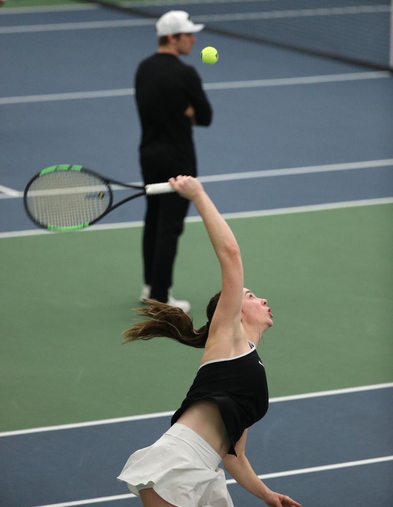 Iowa's Sam Mannix during a doubles match against North Texas Sunday, January 20, 2019 at the Hawkeye Tennis and Recreation Center. (Brian Ray/hawkeyesports.com)