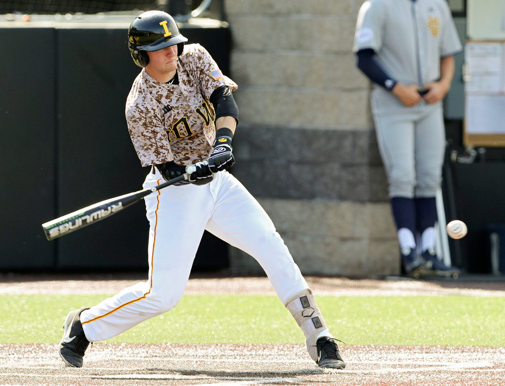 Iowa Hawkeyes third baseman Brendan Sher (2) gets a hit during the eighth inning of their game against UC Irvine at Duane Banks Field in Iowa City on Sunday, May. 5, 2019. (Stephen Mally/hawkeyesports.com)