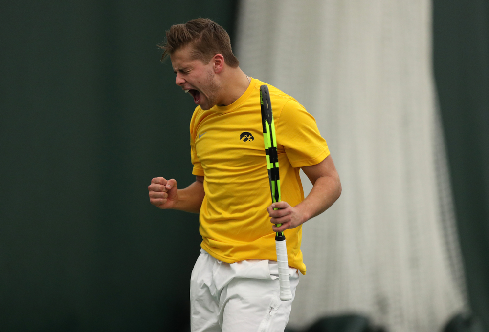 Will Davies against Utah Sunday, February 10, 2019 at the Hawkeye Tennis and Recreation Complex. (Brian Ray/hawkeyesports.com)