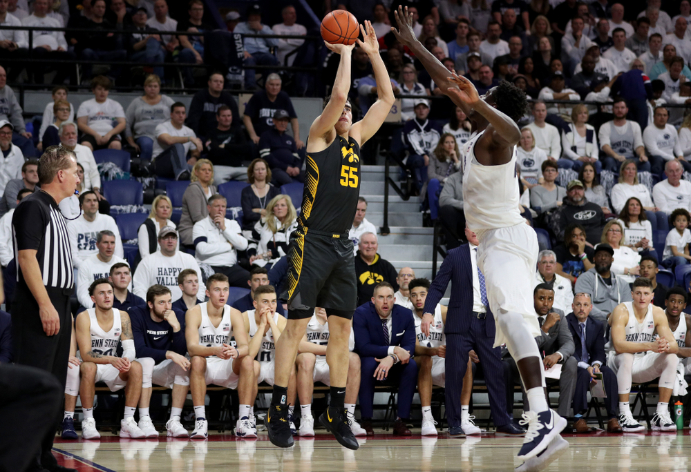 Iowa Hawkeyes forward Luka Garza (55) pulls up for a shot against Penn State Friday, January 3, 2020 at the Palestra in Philadelphia. (Brian Ray/hawkeyesports.com)