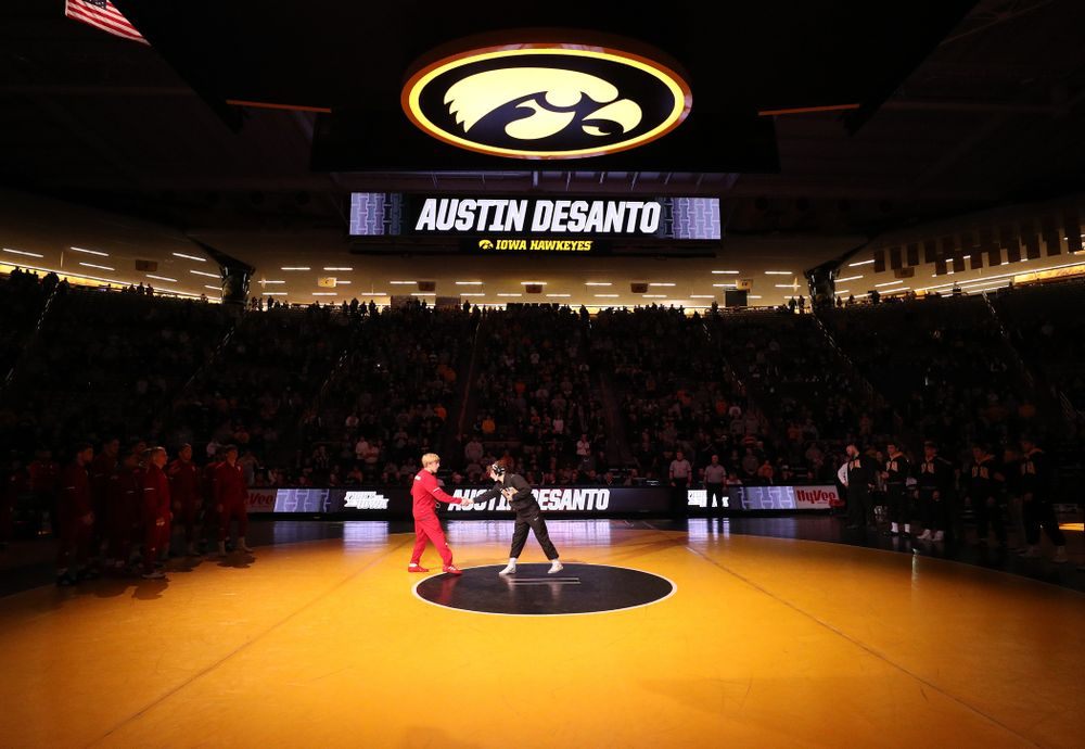 Iowa's Austin DeSanto is introduced before their meet against the Indiana Hoosiers Friday, February 15, 2019 at Carver-Hawkeye Arena. (Brian Ray/hawkeyesports.com)