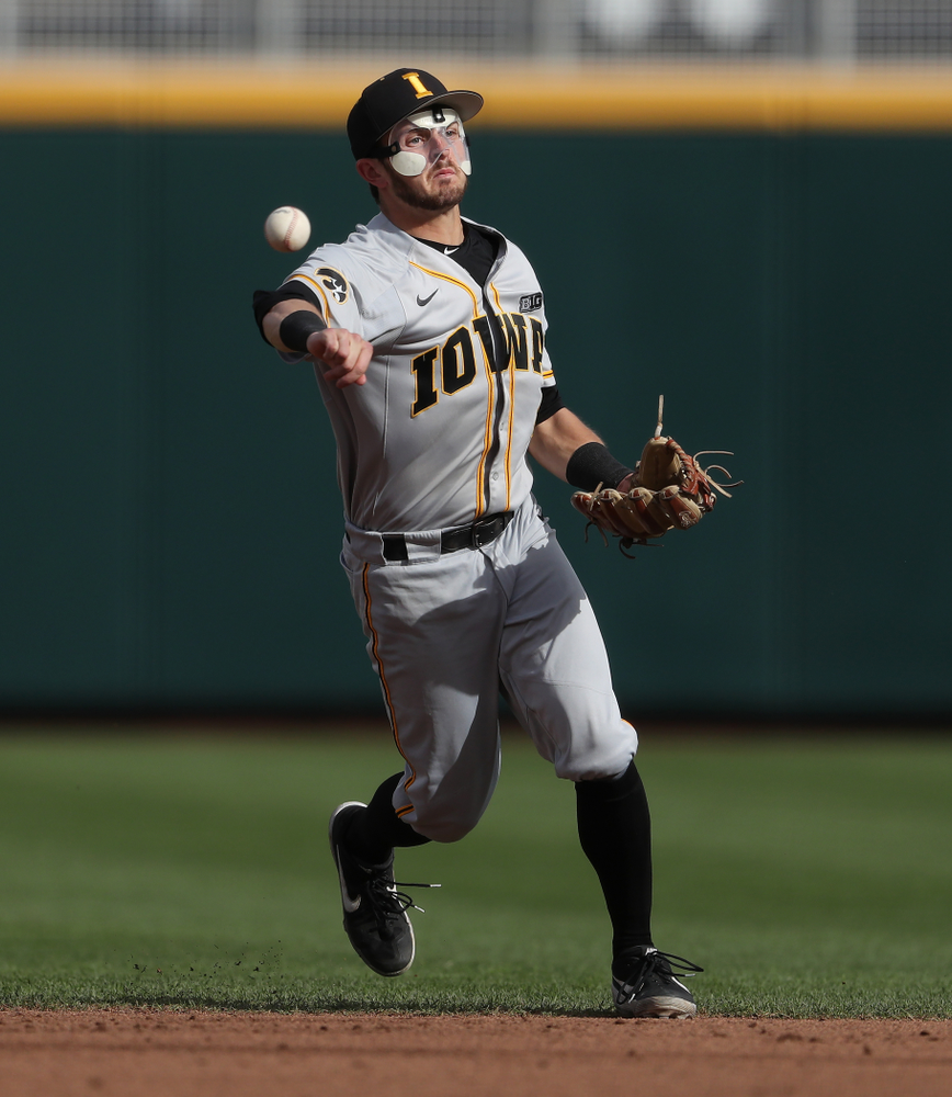 Iowa Hawkeyes infielder Mitchell Boe (4) against the Indiana Hoosiers in the first round of the Big Ten Baseball Tournament Wednesday, May 22, 2019 at TD Ameritrade Park in Omaha, Neb. (Brian Ray/hawkeyesports.com)
