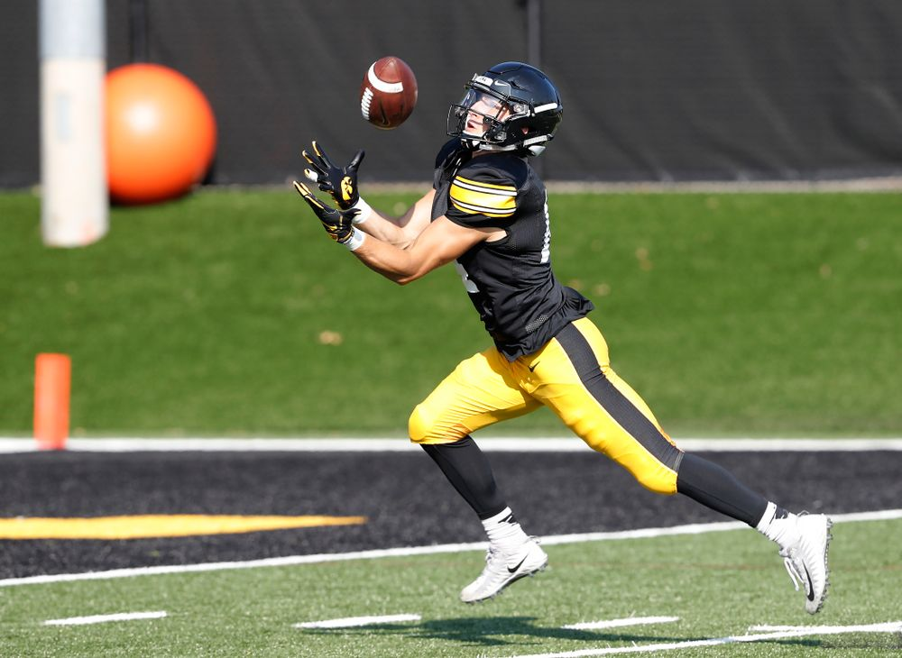 Iowa Hawkeyes wide receiver Kyle Groeneweg (14) during camp practice No. 17 Wednesday, August 22, 2018 at the Kenyon Football Practice Facility. (Brian Ray/hawkeyesports.com)