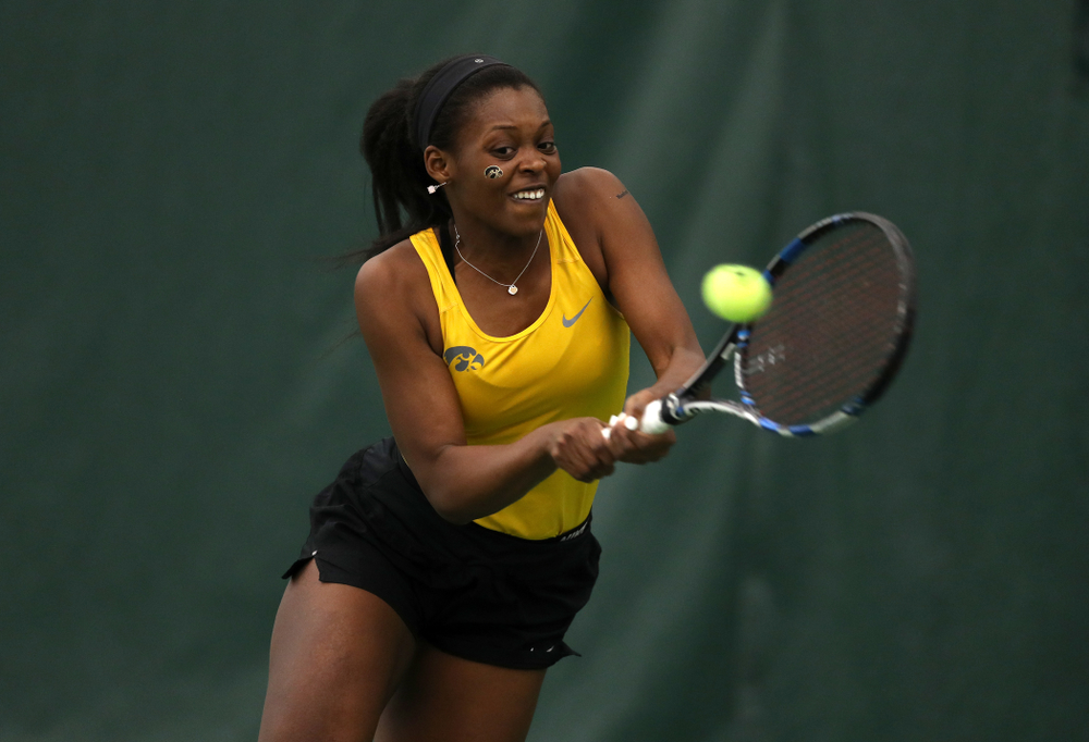 Iowa's Adorabol Huckleby against the Iowa State Cyclones Friday, February 8, 2019 at the Hawkeye Tennis and Recreation Complex. (Brian Ray/hawkeyesports.com)