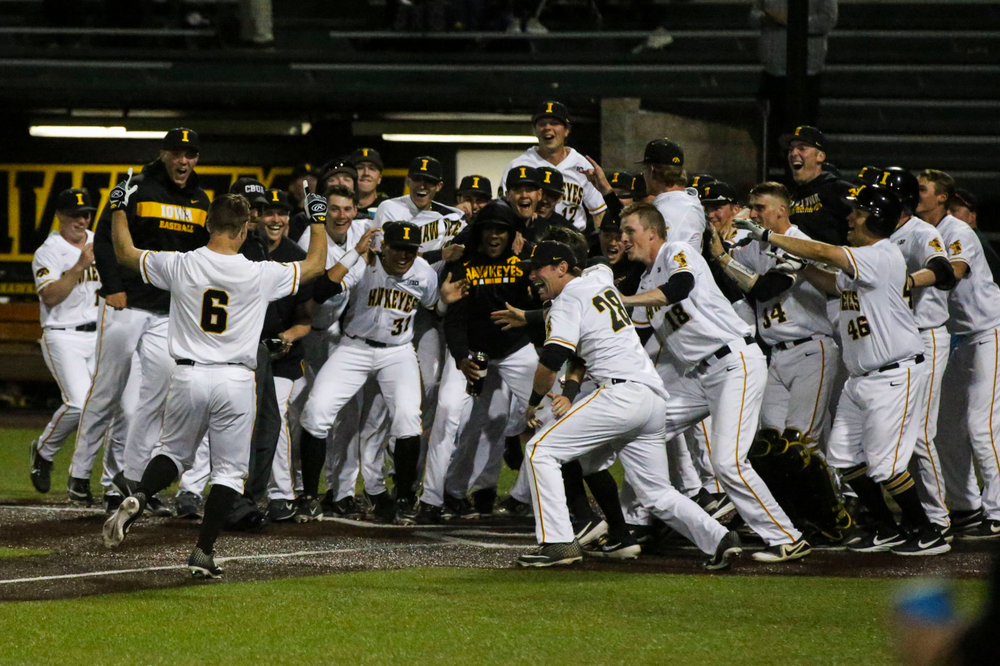Iowa outfielder Justin Jenkins (6) at baseball vs Milwaukee on Tuesday, April 23, 2019 at Duane Banks Field. (Lily Smith/hawkeyesports.com)