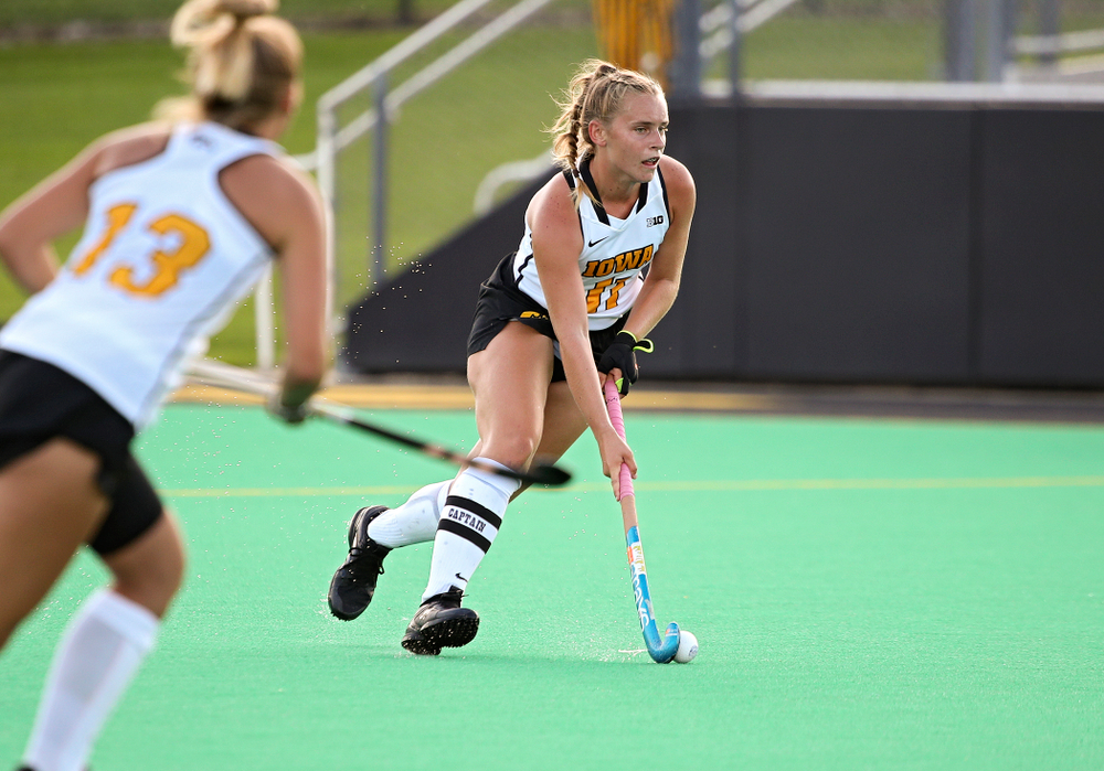 Iowa's Katie Birch (11) moves with the ball during the third quarter of their game at Grant Field in Iowa City on Friday, Sep 13, 2019. (Stephen Mally/hawkeyesports.com)