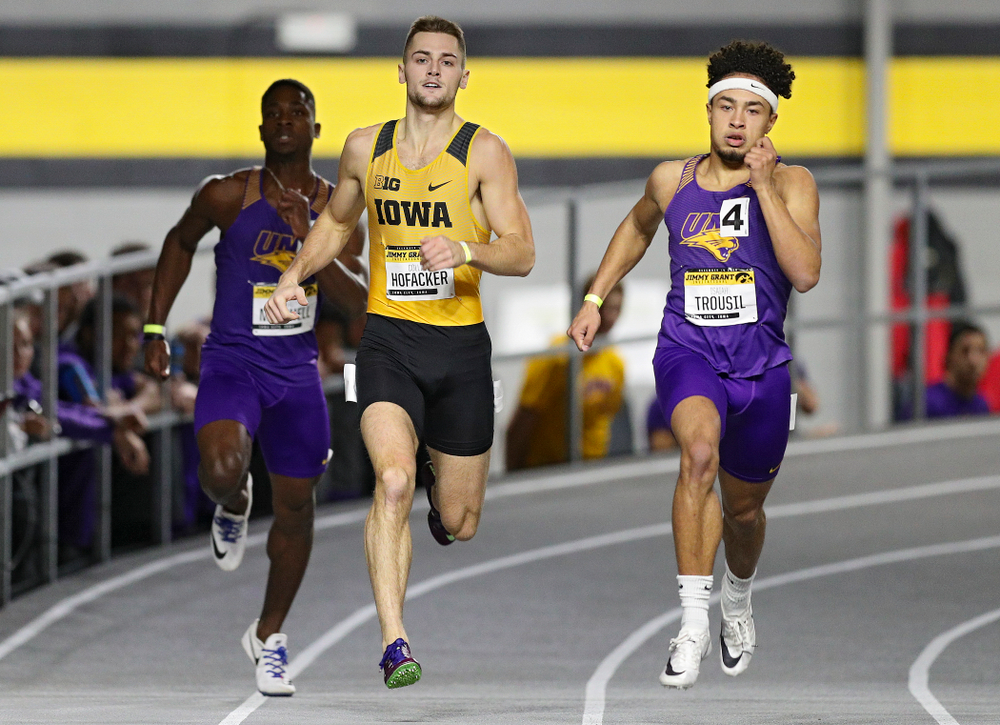 Iowa's Collin Hofacker runs the men's 300 meter invitational event during the Jimmy Grant Invitational at the Recreation Building in Iowa City on Saturday, December 14, 2019. (Stephen Mally/hawkeyesports.com)