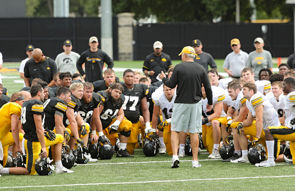 Iowa Hawkeyes head coach Kirk Ferentz talks with his team during Fall Camp Practice No. 10 at the Hansen Football Performance Center in Iowa City on Tuesday, Aug 13, 2019. (Stephen Mally/hawkeyesports.com)