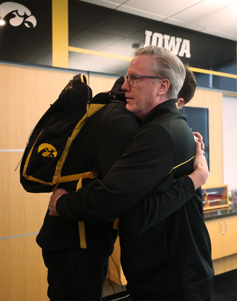 Iowa Hawkeyes head coach Fran McCaffery tells forward Luka Garza (55) that he has been named the Big Ten Player of the Year Monday, March 9, 2020 at Carver-Hawkeye Arena. (Brian Ray/hawkeyesports.com)