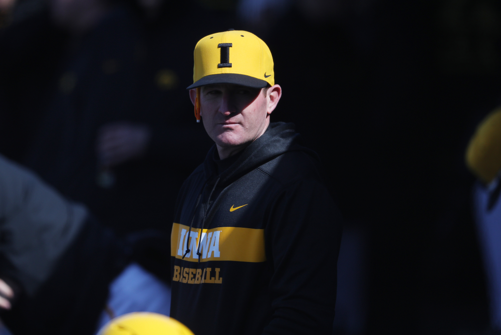 Assistant Head Coach Marty Sutherland against California State Northridge Sunday, March 17, 2019 at Duane Banks Field. (Brian Ray/hawkeyesports.com)