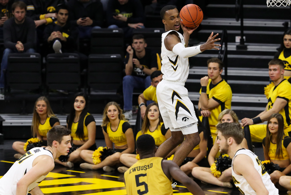 Iowa Hawkeyes guard Maishe Dailey (1) grabs a rebound during a game against Alabama State at Carver-Hawkeye Arena on November 21, 2018. (Tork Mason/hawkeyesports.com)