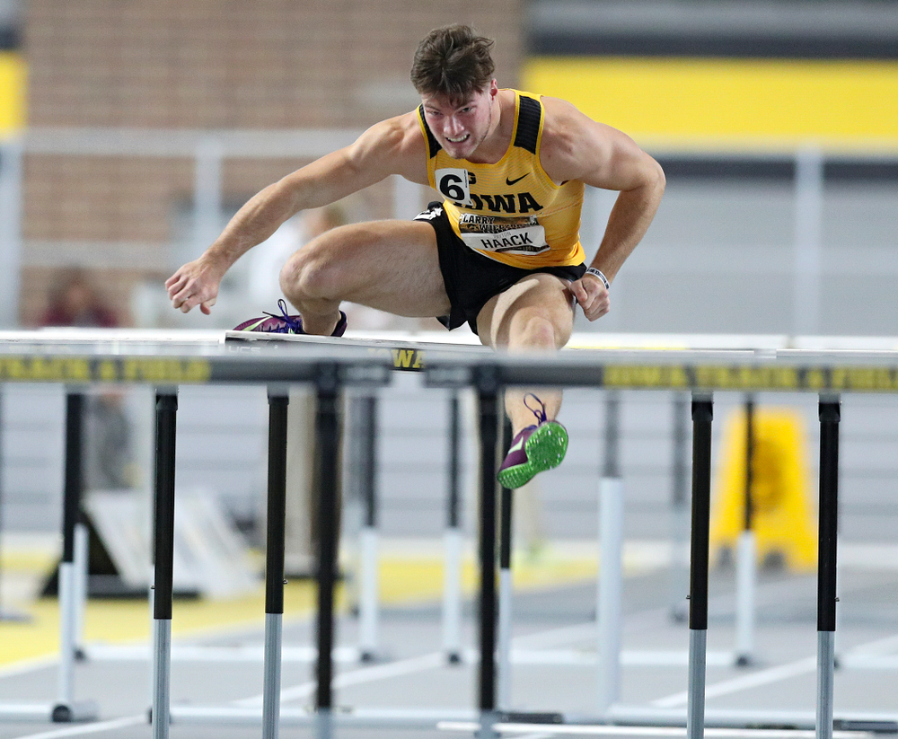 Iowa's Peyton Haack runs the men's 60 meter hurdles premier preliminary event during the Larry Wieczorek Invitational at the Recreation Building in Iowa City on Saturday, January 18, 2020. (Stephen Mally/hawkeyesports.com)
