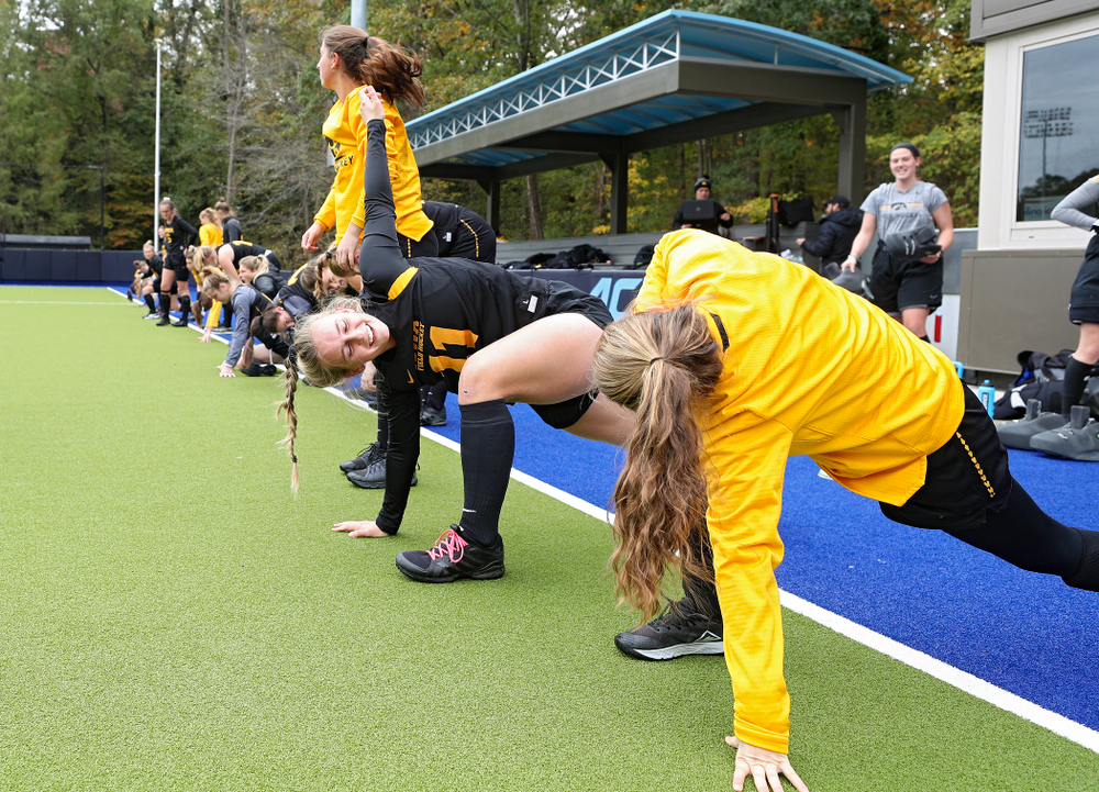 The Iowa Hawkeyes warm up for their practice at Karen Shelton Stadium in Chapel Hill, N.C. on Thursday, Nov 14, 2019. (Stephen Mally/hawkeyesports.com)